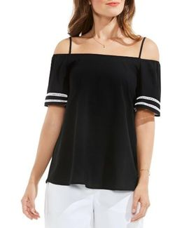Contrast Inset Off The Shoulder Blouse