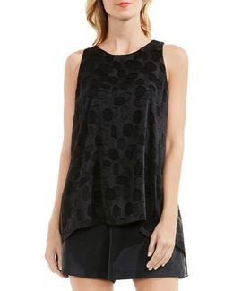 Sheer Dot Clipped Jacquard Blouse