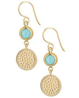Semiprecious Stone Double Drop Earrings