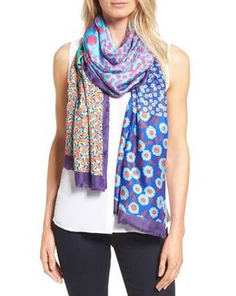 Tangier Floral Tissue Weight Silk Oblong Scarf
