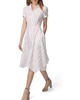 Handkerchief Hem Dot Jacquard Shirtdress