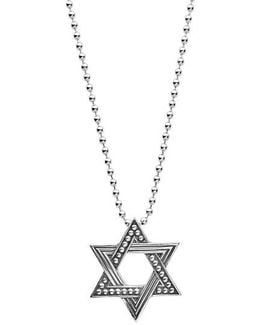 Signature Caviar Star Of David Pendant Necklace