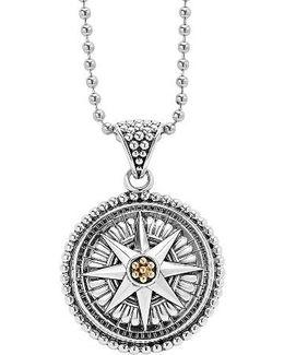 Signature Caviar Compass Pendant Necklace
