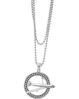 Signature Caviar Plane Pendant Necklace
