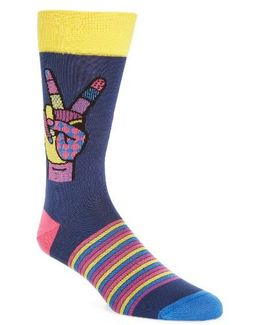 Peace Sign Crew Socks
