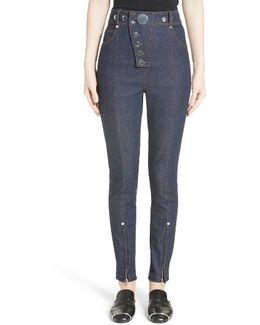 Snap High Waist Skinny Jeans