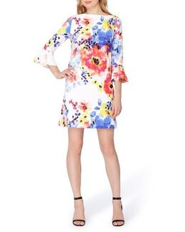 Bell-sleeve Floral Shift Dress
