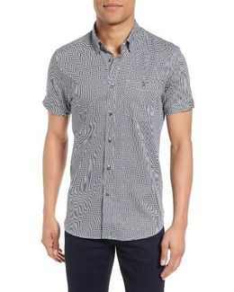 Munkee Extra Slim Fit Diamond Print Sport Shirt