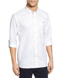 Laavato Extra Slim Fit Linen & Cotton Roll Sleeve Sport Shirt