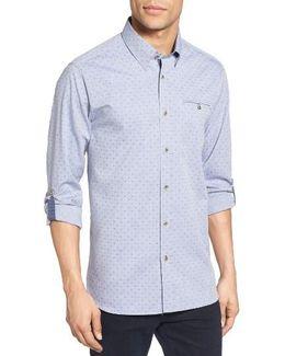 Forray Extra Slim Fit Diamond Dobby Roll Sleeve Sport Shirt