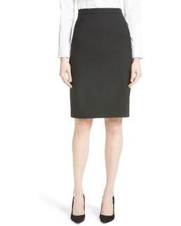 Hemdall B Stretch Wool Pencil Skirt