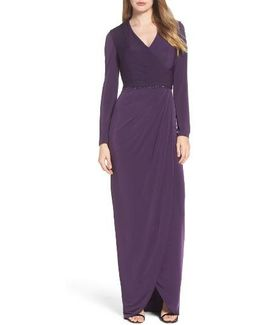 Embellished Faux Wrap Gown