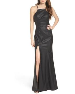 Faux Leather Gown