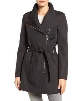 Asymmetrical Belted Rain Coat