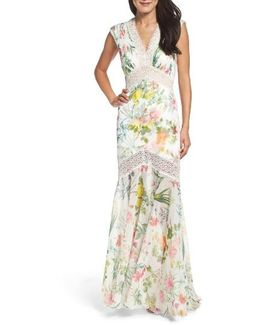 Floral Pleat Chiffon Trumpet Gown