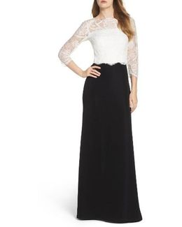 Lace & Crepe Gown
