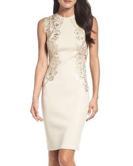 Sequin Applique Neoprene Sheath Dress