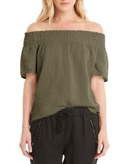 Smocked Cotton Off The Shoulder Top