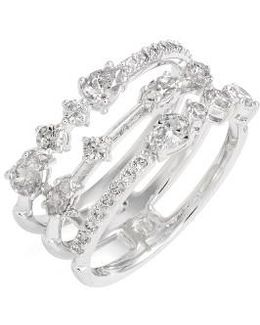 Ava Openwork Crystal Ring