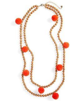 Grenada Double Strand Pompom Necklace