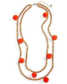 Grenada Double Strand Pompom Necklace