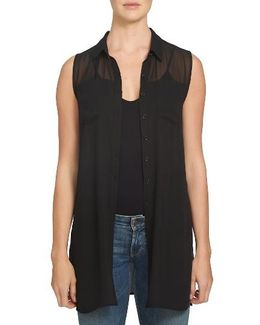 Sheer Yoke Sleeveless Tunic