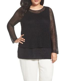 Organic Linen Tiered Sweater
