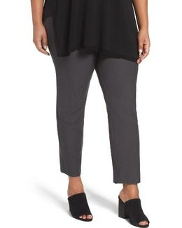 Slim Washable Stretch Crepe Ankle Pants