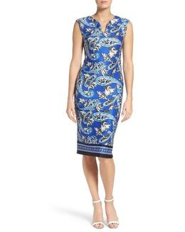 Paisley Scuba Sheath Dress