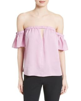Blaire Off The Shoulder Stretch Silk Top