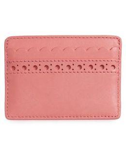 Block T Brogue Slim Leather Card Case