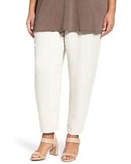 Silk Georgette Crepe Ankle Pants