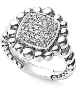Caviar Spark Square Diamond Ring