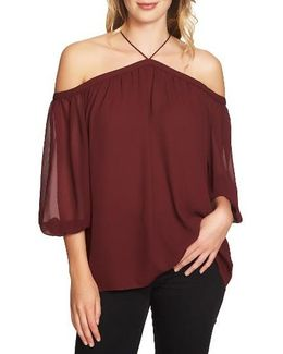 Off The Shoulder Sheer Chiffon Blouse