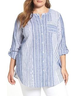 Variegated Stripe Linen Blend Tunic