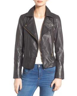 Minimal Leather Biker Jacket