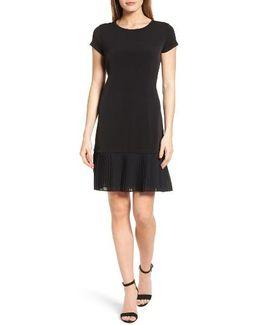 Pleat Chiffon Hem Jersey Dress
