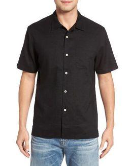 Monaco Tides Standard Fit Linen Blend Camp Shirt