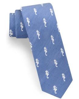 Seahorse Silk & Linen Tie