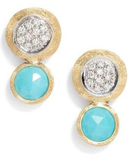 Jaipur Diamond & Turquoise Stud Earrings