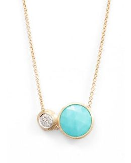Jaipur Turquoise & Diamond Pendant Necklace