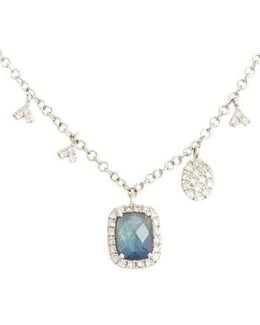 Diamond & Semiprecious Stone Dangle Charm Necklace