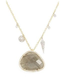 Jewelry Diamond & Semiprecious Stone Pendant Necklace