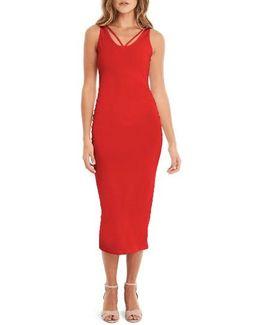 Reversible Stretch Cotton Midi Dress