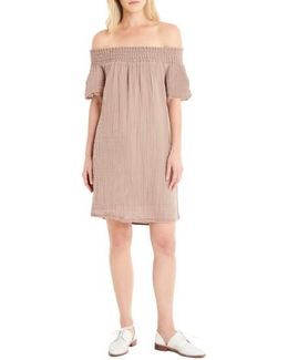 Smocked Cotton Off The Shoulder Dress