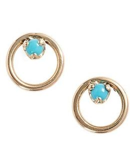 Turquoise Circle Stud Earrings