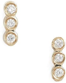 Diamond Bezel Bar Stud Earrings