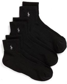 3-pack Tech Athletic Quarter Socks, Black