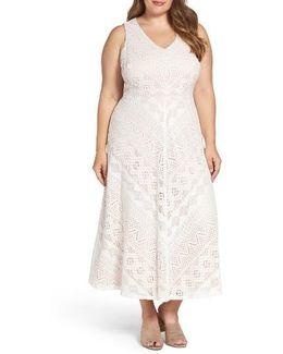 Mitered Lace Midi Dress