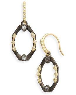 Old World Octagonal Diamond & Sapphire Drop Earrings